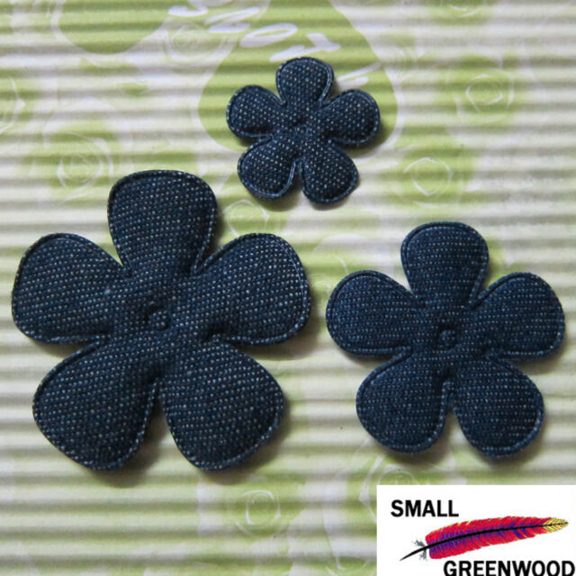 "(U Pick) Wholesale 50-500 Pcs 1""-2"" Padded Blue Denim Flower Appliques F3700"