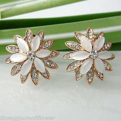 Navachi Opal Blooming Flower 18K GP Rhinestone Crystal Buckle Earrings BH2029
