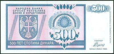BOSNIA 500 DINARA 1992 P 136 UNC