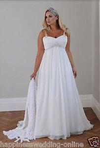 Neu-Plus-Size-Weiss-Elfenbein-Ballkleid-Hochzeitskleid-Brautkleider-Gr-40-56