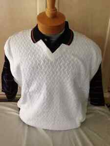 New mens pringle m xl white v neck sweater vest with navy for Polo shirt with undershirt