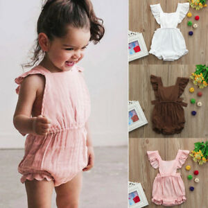 75983a92d Image is loading Newborn-Toddler-Girls-Ruffles-Romper-Backless-Jumpsuit- Outfits-