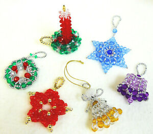 PATTERNS-ONLY-Beaded-Christmas-Ornaments-Classic-Holiday-Designs-set-of-6