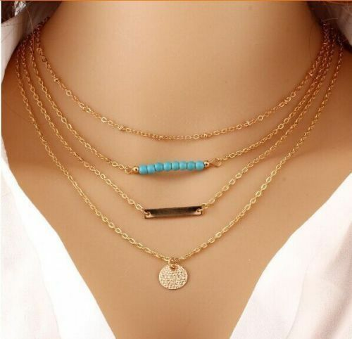 Women Girl Charm Jewelry Choker Chunky Statement Bib Pendant Chain Necklace