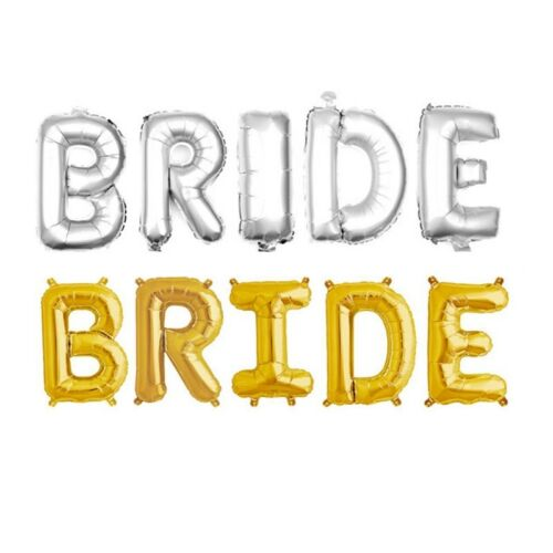 "BRIDE in GOLD SILVER 32/"" inch Foil Balloons Wedding Party Banner Decor Balloons"