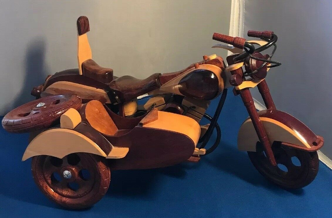 Vintage Wooden Handmade Motorcycle with side car