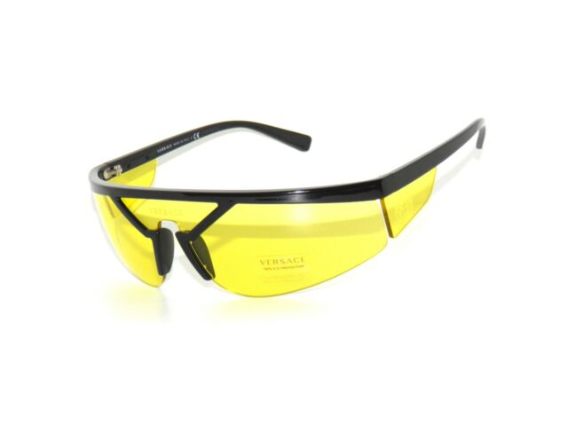 82d98ae1f4a05 Versace 4349 Gb1 85 Sunglasses Black Frame Yellow Lenses 39mm for ...