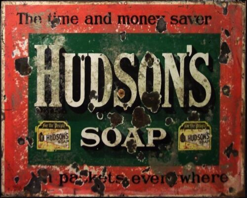 Hudson's Soap - VINTAGE ADVERTISING ENAMEL METAL TIN SIGN WALL PLAQUE
