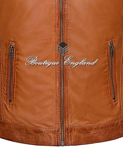 Men/'s Cognac Cool Retro Biker Style Soft Padded Sheep Napa Leather Jacket 1829-B