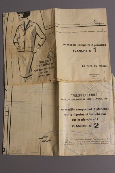 ' MODES & TRAVAUX ' PATRON AVRIL 1964 + PATRON enfant A10