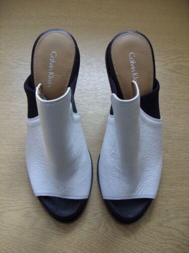 ouvert Klein Calvin Uk pour Chaussures Toe bout blanc 3 3411 à Peep femmes et 5 noir Mules Eu 36 zEtxxHOqw