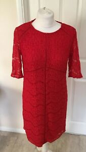 Nouveau-dentelle-Overlay-a-manches-courtes-Robe-Rouge-Pour-All-Occasions-Taille-6-8-10