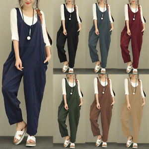 511e334b3b4 Image is loading Women-Romper-Overall-Loose-Suspender-Cotton-Linen-Trouser-
