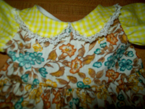 """YELLOW GINGHAM CHECK FLOWER CALICO DRESS for 16/"""" CPK Cabbage Patch Kids"""