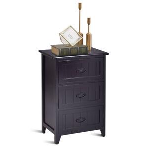 3-Drawers-Nightstand-End-Table-Bedroom-Storage-Wood-Side-Bedside-Black-NEW