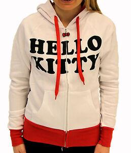 Juniors-TV-Show-Hello-Kitty-White-Japanese-Cat-Red-Bow-amp-Ears-Costume-Zip-Hoodie