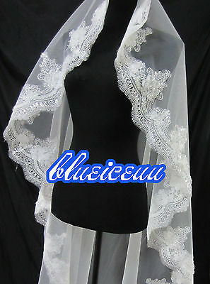 NEW mantilla wedding veil cathedral Alencon Lace with Sequin flowers embellish