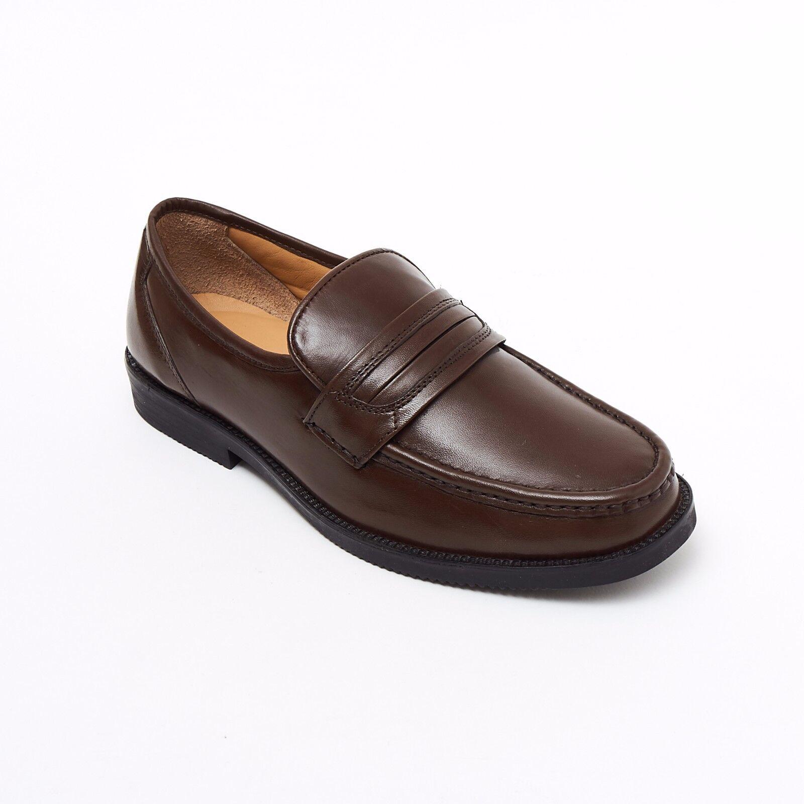 Lucini Formal Men Brown Leather Mocassin Heels shoes Slip On Wedding Loafer