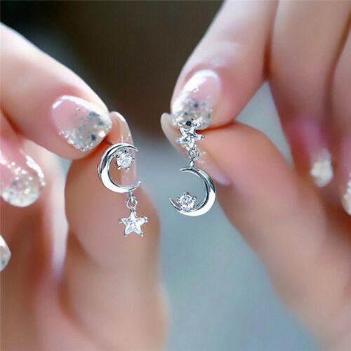 Silver Plated Crystal Earrings Star Moon Drop Dangle Earrings Bridal JewelryWRDE