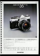 Factory 1978 Olympus Zuiko MC 35mm F2 Camera Lens Dealer Data Sheet Page