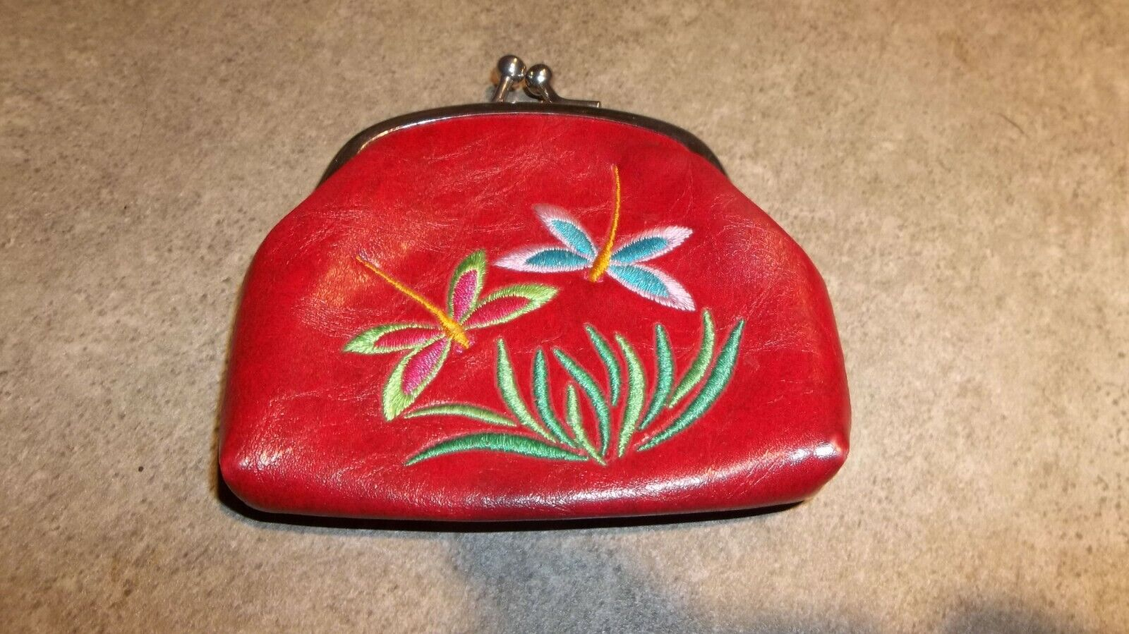 Lavishy Red Leather Embroidered Dragonfly Kisslock Coin Purse Wallet