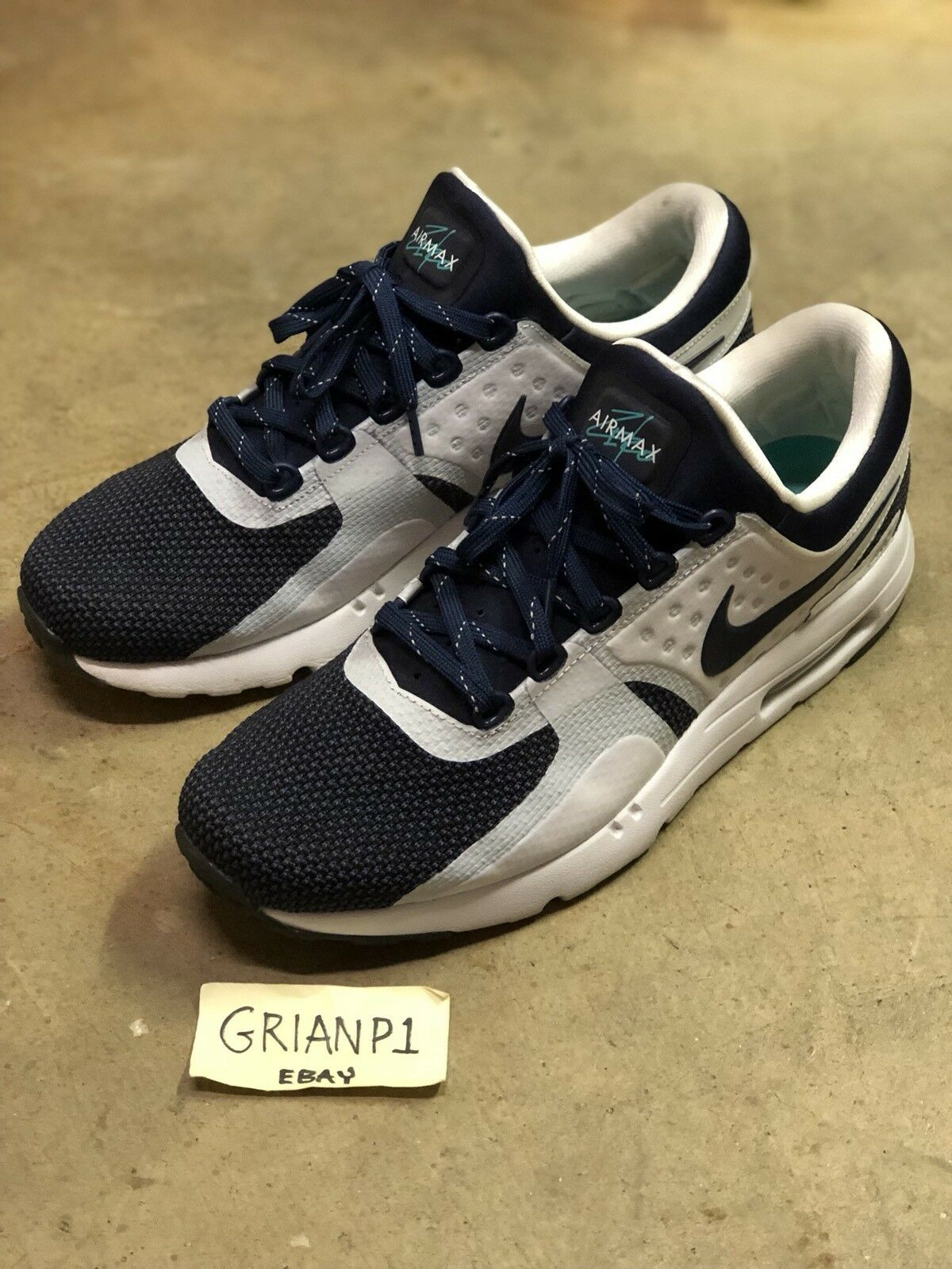Nike Air Max Zero QS 789695-104 OG Size 10.5 Tinker Hatfield White Midnight Navy