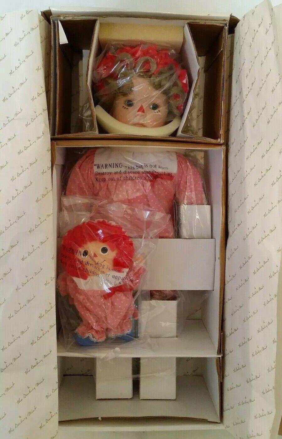 Nuevo Bebé Raggedy Ann & Baby Annie Danbury Mint Kelly Rubert Porcelana 20  Nuevo En Caja