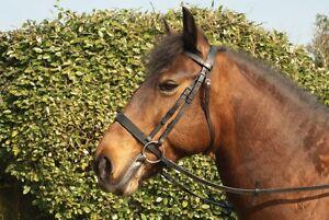Windsor-Leather-Hunter-Snaffle-Bridle-Horse-Pony-Plus-Set-Rubber-Reins