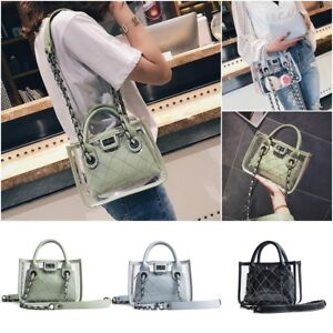 Women/'s Clear Transparent PVC Shoulder Bag Tote Jelly Candy Summer Beach Handbag