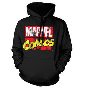 cappuccio Comics con S con xxl logo Retro colore di logo Marvel nero Felpa HqTU5w11