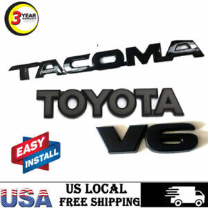 For Toyota Tacoma Pair Matte Black Tag Door Fender Emblem Decal Badge Nameplate