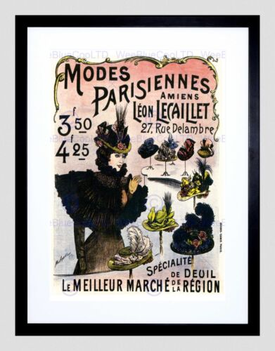 ADVERT PARISIAN FASHION RETRO HAT DECOR BLACK FRAMED ART PRINT PICTURE B12X3197