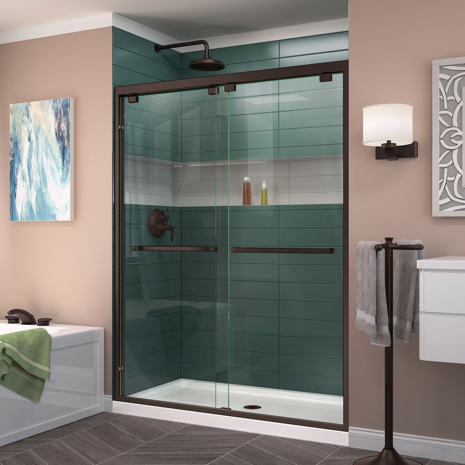 Dreamline Encore 56 60 X 76 Semi Frameless Bypass Glass Shower Door In Bronze