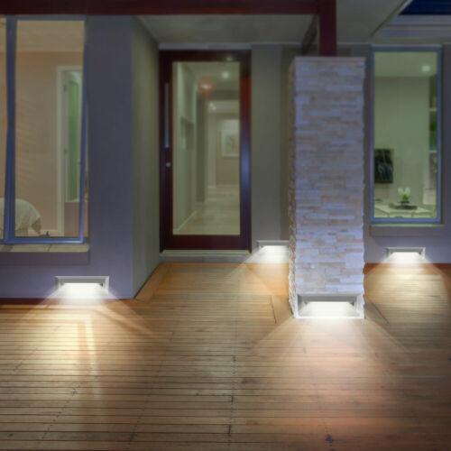 4er Set DEL façades appliques murales porche extérieur lampes gris Escalier Projecteur ip65