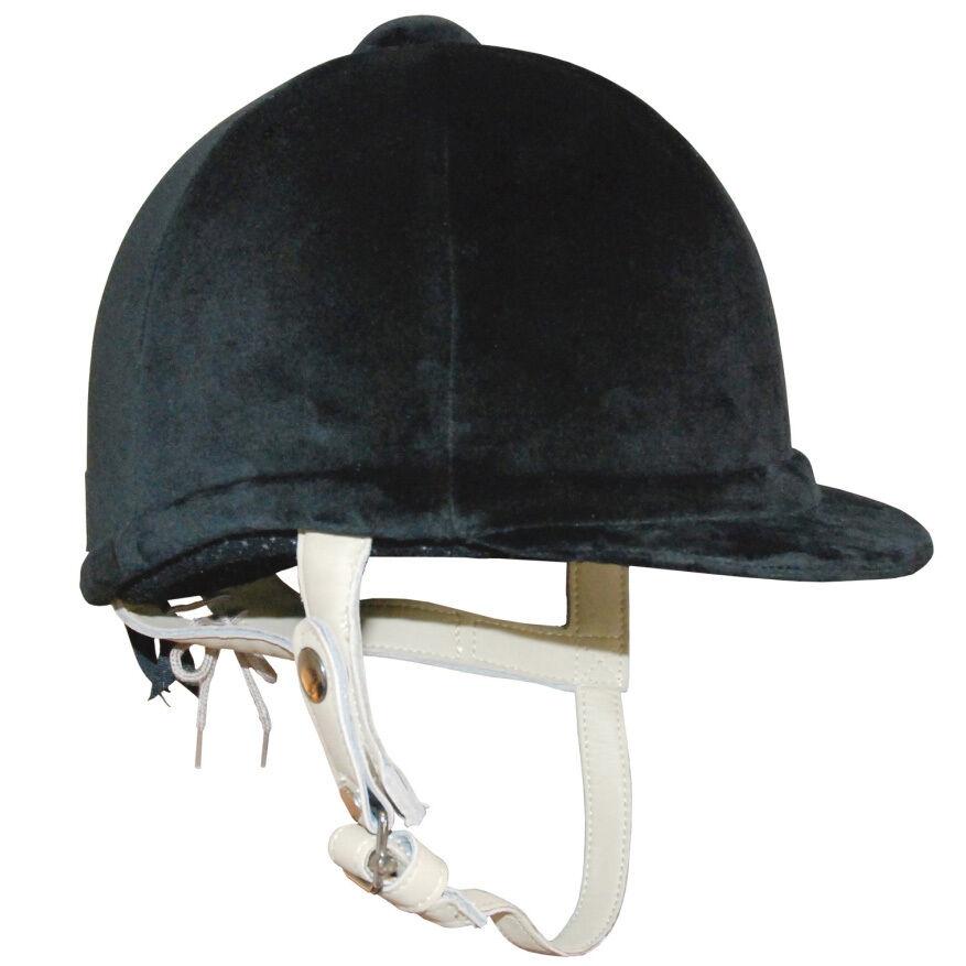 Design Headwear Cappello da equitazione in velluto nero con carne di cablaggio 52cm - 61cm