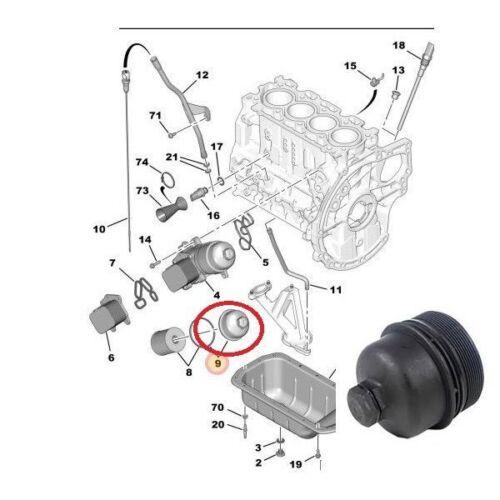 Oil Filter Housing Top Cover Cup Citroen Peugeot 1.4HDi 1.6HDi 1103K4