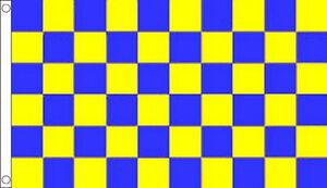 GREEN /& YELLOW CHEQUERED FLAG 5X3 SPORT FOOTBALL TEAM