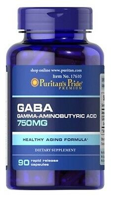 GABA 750 mg. 90caps PURITANS Relajante natural  Anti-stress