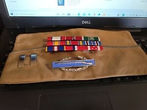 WW2 OFFICERS GARRISON CAP , CIB, AND CAPT BARS  STERLING SILVER  9 RIBBONS -SEE