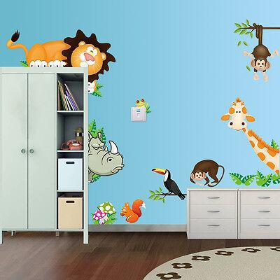 Wandtattoo Wandsticker Aufkleber Tiere Kinder Löwe Kinderzimmer Nashorn Giraffe