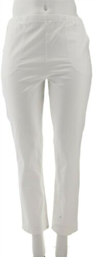 Denim /& Co Original Waist Stretch Pants Side Fitted Pockets White S NEW A53351
