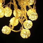20 LED Garland Rattan Vine Ball Globe Lamp Fairy String Lights Party Home Decor