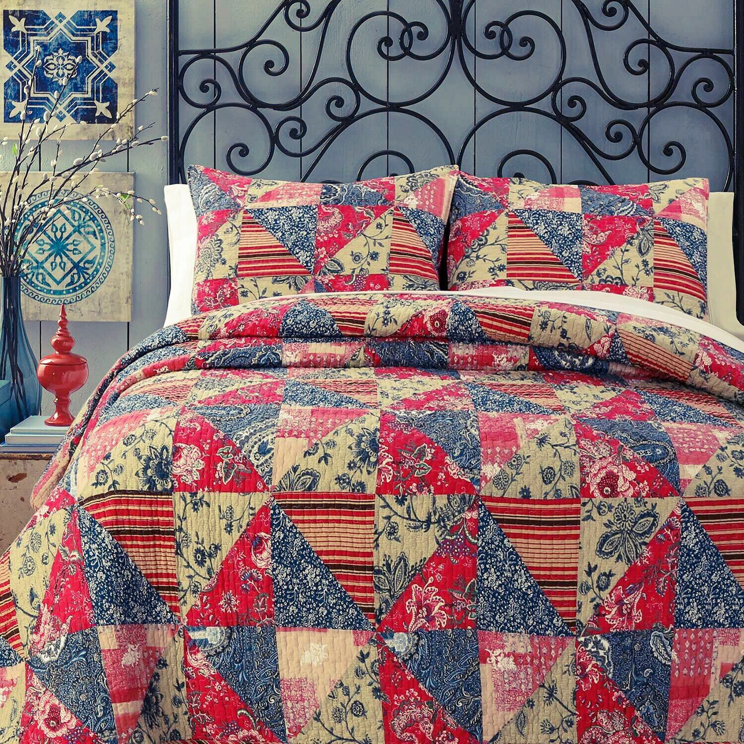 Red pink Garden 100%Cotton Twin-Size Quilt Set, Bedspread, Coverlet