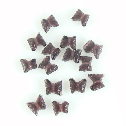9mm x 8mm transparent amethyst purple pressed glass butterfly shaped beads 50 p