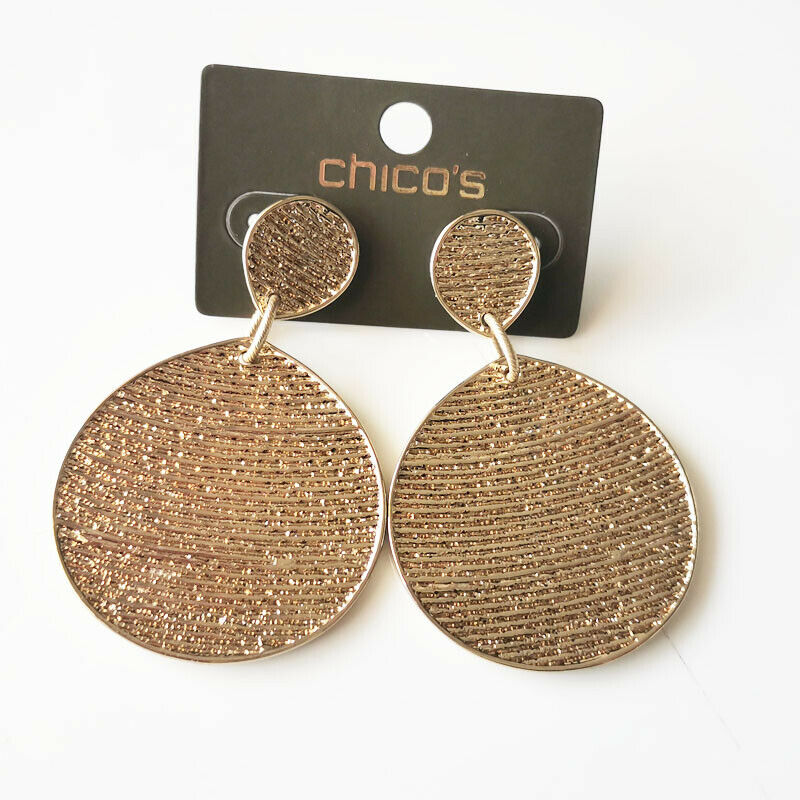 New Chicos Tag Heavy Drop Statement Earrings Gift Fashion Women Party Jewelry