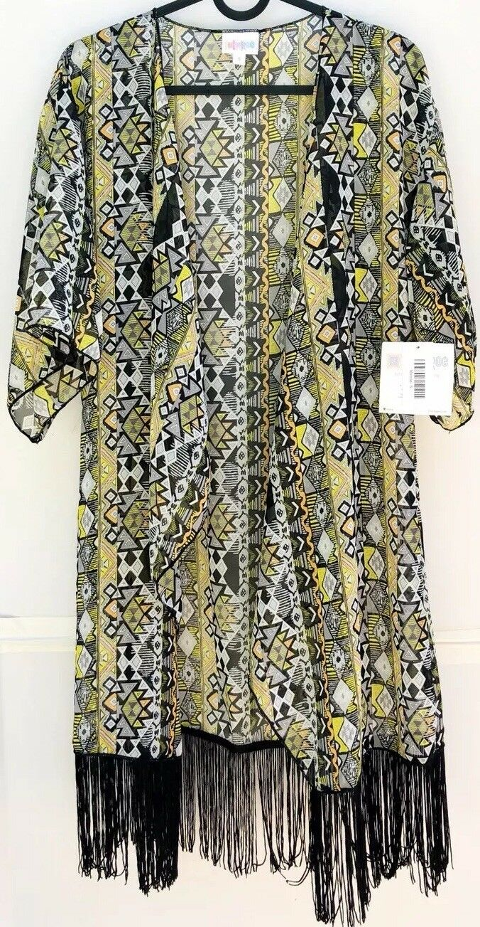 LuLaRoe Monroe Kimono Small Cover Up Top Aztec Tribal schwarz Gelb Orange Weiß