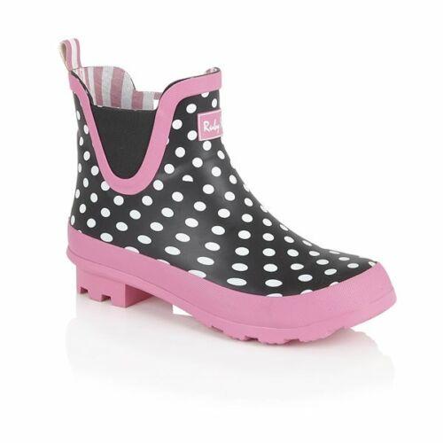 Ruby Shoo Ginny Noir Rose Blanc Polka Dot Spot Womans Plat Bottines Wellie Boot