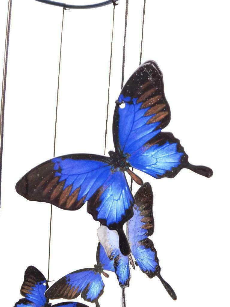 (1) 8 Blue Ulysses Butterfly Wind Chime Metal Garden Hanging Mobile 8pc