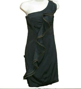 Shoulder Black Dress Ripper 6 Ruffle Size Cache Detail One BF4aRw