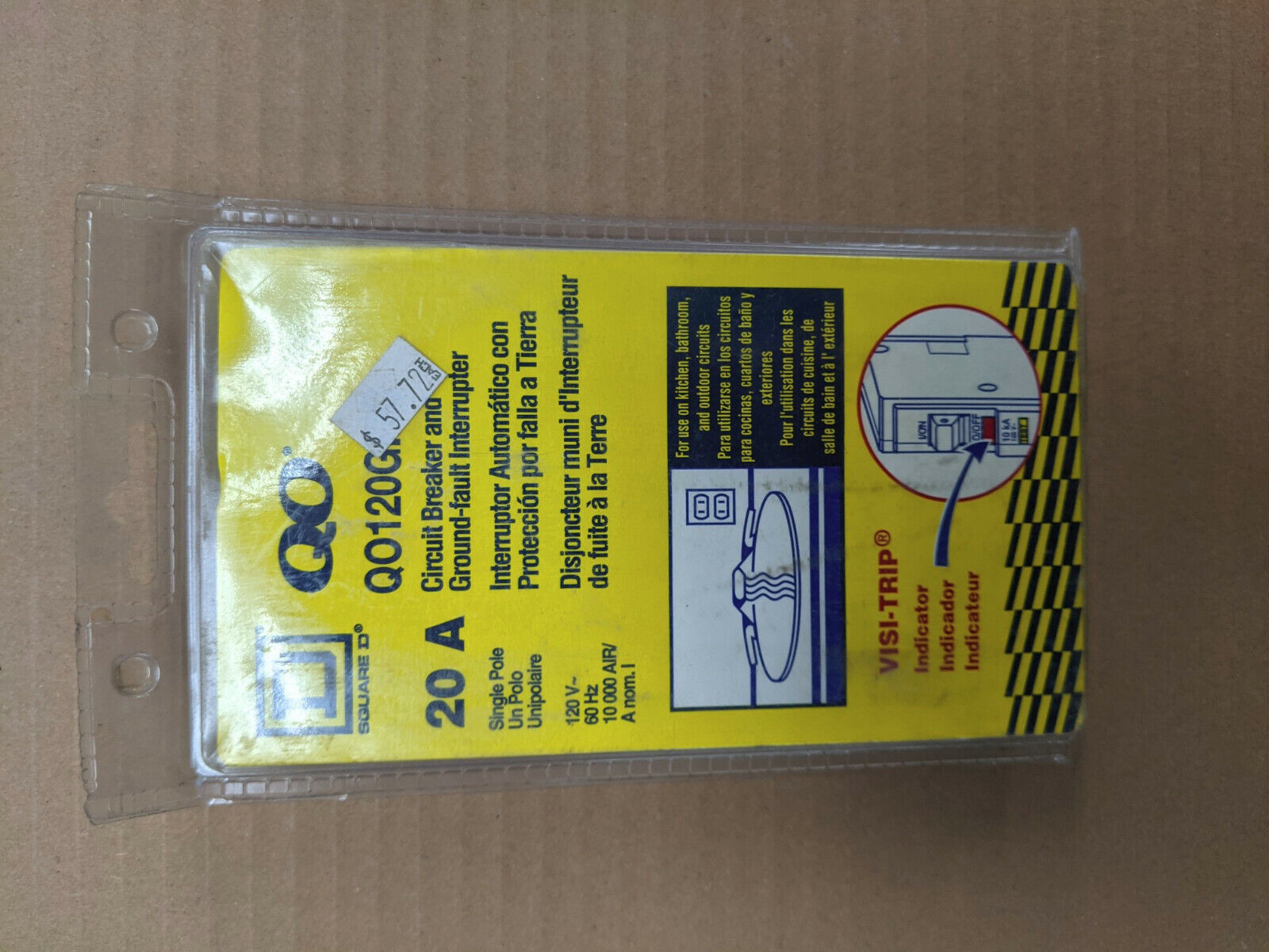 Square D QO120PCAFI 20 Amp 1 Pole Circuit Breaker Ground Fault Interrupter 20a for sale online